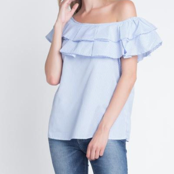 Women's Striped Off Shoulder Ruffle Blouse