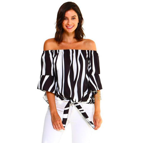 Women's Strapless Zebra Blouse