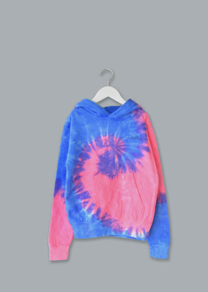 Kids Tie-Dye Pullover Hooded Sweatshirt juju + stitch KIDS 2-4 / Neon Blue Pink custom personalized script embroidered tie dye hoodie