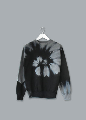Adult Tie-Dye Crewneck Fleece Sweatshirt (Unisex) juju + stitch Adult 2XL / Black Gray Spiral custom personalized script embroidered tie dye crewneck fleece sweatshirt