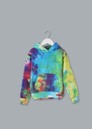 Kids Tie-Dye Pullover Hooded Sweatshirt juju + stitch KIDS 2-4 / Rainbow Patch custom personalized script embroidered tie dye hoodie