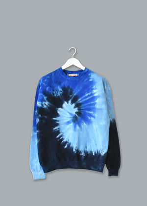 Adult Tie-Dye Crewneck Fleece Sweatshirt (Unisex) juju + stitch Adult S / Deep Blue custom personalized script embroidered tie dye crewneck fleece sweatshirt