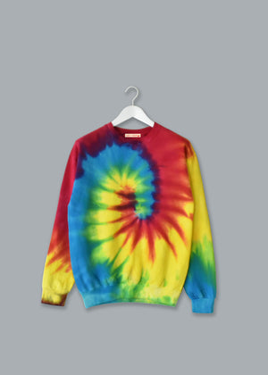 Adult Tie-Dye Crewneck Fleece Sweatshirt (Unisex) juju + stitch Adult S / Bright Rainbow custom personalized script embroidered tie dye crewneck fleece sweatshirt