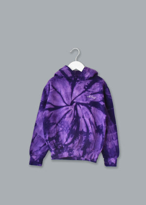 Adult Tie-Dye Pullover Hooded Sweatshirt (Unisex) juju + stitch Adult XL / Spiral Purple custom personalized script embroidered tie dye hoodie