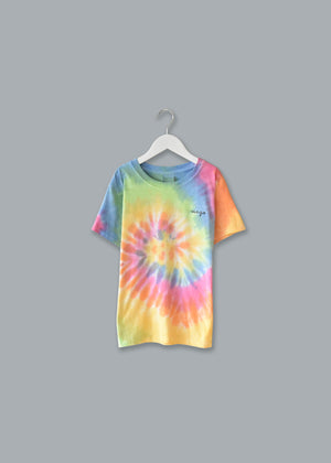 Kids Tie-Dye T-shirt juju + stitch KIDS 2-4 / Pastel Rainbow custom personalized script embroidered tie dye kids t-shirt
