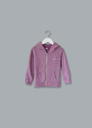 Adult Zip Fleece Hoodie (Unisex) juju + stitch Adult XL / Tri Lilac custom personalized script embroidered zip-up fleece sweatshirt