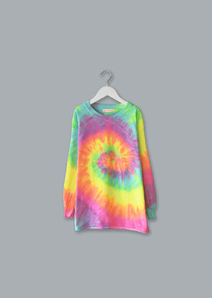 Kids Tie-Dye Longsleeve Shirt juju + stitch  custom personalized script embroidered tie dye kids longsleeve shirt