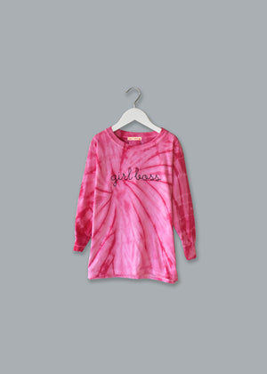 Adult Tie-Dye Longsleeve Shirt (Unisex) juju + stitch Adult S / Spiral Pink custom personalized script embroidered tie dye longsleeve shirt