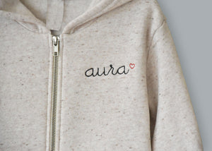 Adult Zip Fleece Hoodie (Unisex) juju + stitch Adult XL / Tri Beige custom personalized script embroidered zip-up sweatshirt