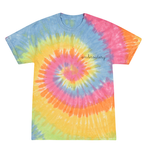Kids Tie-Dye T-shirt juju + stitch  custom personalized script embroidered tie dye kids t-shirt