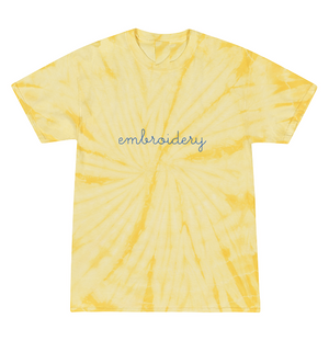 Kids Tie-Dye T-shirt juju + stitch KIDS 2-4 / Spiral Baby Yellow custom personalized script embroidered tie dye kids t-shirt