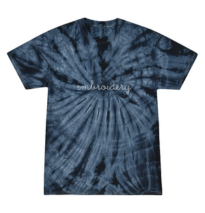 Adult Tie-Dye T-shirt (Unisex) juju + stitch Adult S / Spiral Navy custom personalized script embroidered kids tie dye t-shirt