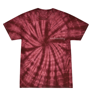 Kids Tie-Dye T-shirt juju + stitch KIDS 2-4 / Spiral Maroon custom personalized script embroidered tie dye kids t-shirt