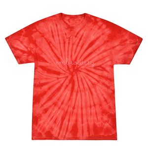 Kids Tie-Dye T-shirt juju + stitch KIDS 2-4 / Spiral Red custom personalized script embroidered tie dye kids t-shirt