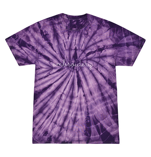 Kids Tie-Dye T-shirt juju + stitch KIDS 2-4 / Spiral Purple custom personalized script embroidered tie dye kids t-shirt