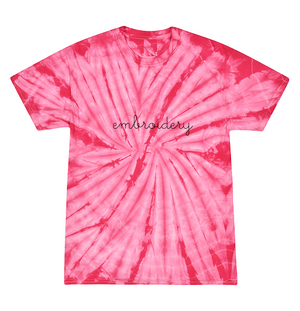 Adult Tie-Dye T-shirt (Unisex) juju + stitch Adult S / Spiral Pink custom personalized script embroidered kids tie dye t-shirt