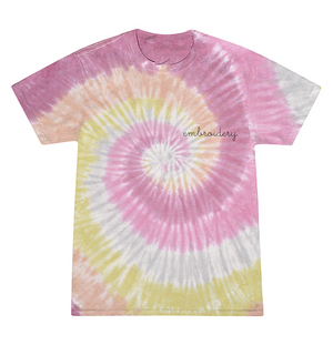 Adult Tie-Dye T-shirt (Unisex) juju + stitch Adult S / Dusty Pink custom personalized script embroidered kids tie dye t-shirt