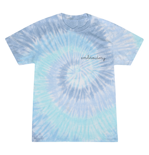 Adult Tie-Dye T-shirt (Unisex) juju + stitch Adult S / Spiral Aqua custom personalized script embroidered kids tie dye t-shirt