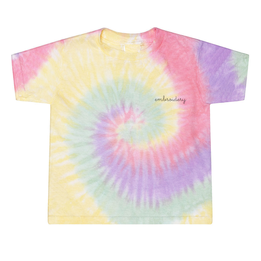 Little Kids Tie-Dye Shortsleeve T-shirt juju + stitch 2T / Spiral Zen custom personalized script embroidered tie dye kids t-shirt