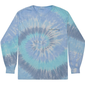 Kids Tie-Dye Longsleeve Shirt juju + stitch KIDS 2-4 / Spiral Aqua custom personalized script embroidered tie dye kids longsleeve shirt