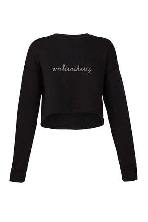 Ladies' Cropped Fleece Crewneck juju + stitch S / Black custom personalized script embroidered cropped sweatshirt