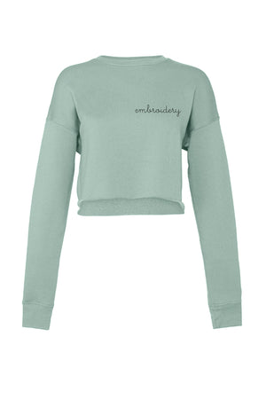 Ladies' Cropped Fleece Crewneck juju + stitch S / Dusty Blue custom personalized script embroidered cropped sweatshirt