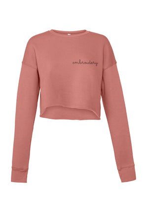 Ladies' Cropped Fleece Crewneck juju + stitch S / Mauve custom personalized script embroidered cropped sweatshirt