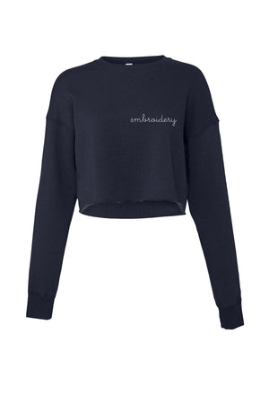 Ladies' Cropped Fleece Crewneck juju + stitch S / Navy custom personalized script embroidered cropped sweatshirt