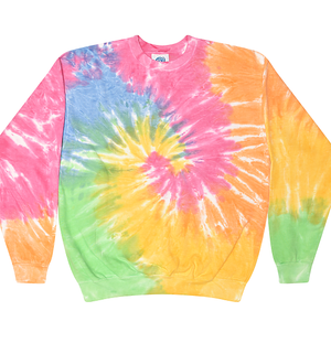Adult Tie-Dye Crewneck Fleece Sweatshirt (Unisex) juju + stitch Adult S / Pastel Rainbow custom personalized script embroidered tie dye crewneck fleece sweatshirt