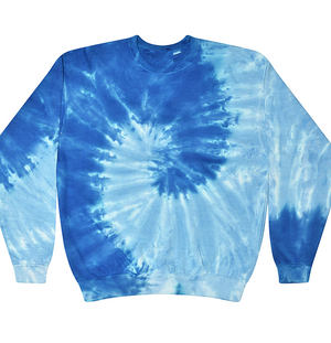 Adult Tie-Dye Crewneck Fleece Sweatshirt (Unisex) juju + stitch Adult S / Spiral Baby Blue custom personalized script embroidered tie dye crewneck fleece sweatshirt