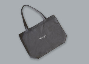 Canvas Tote Bag juju + stitch O/S / Gray custom personalized script embroidered canvas tote bag