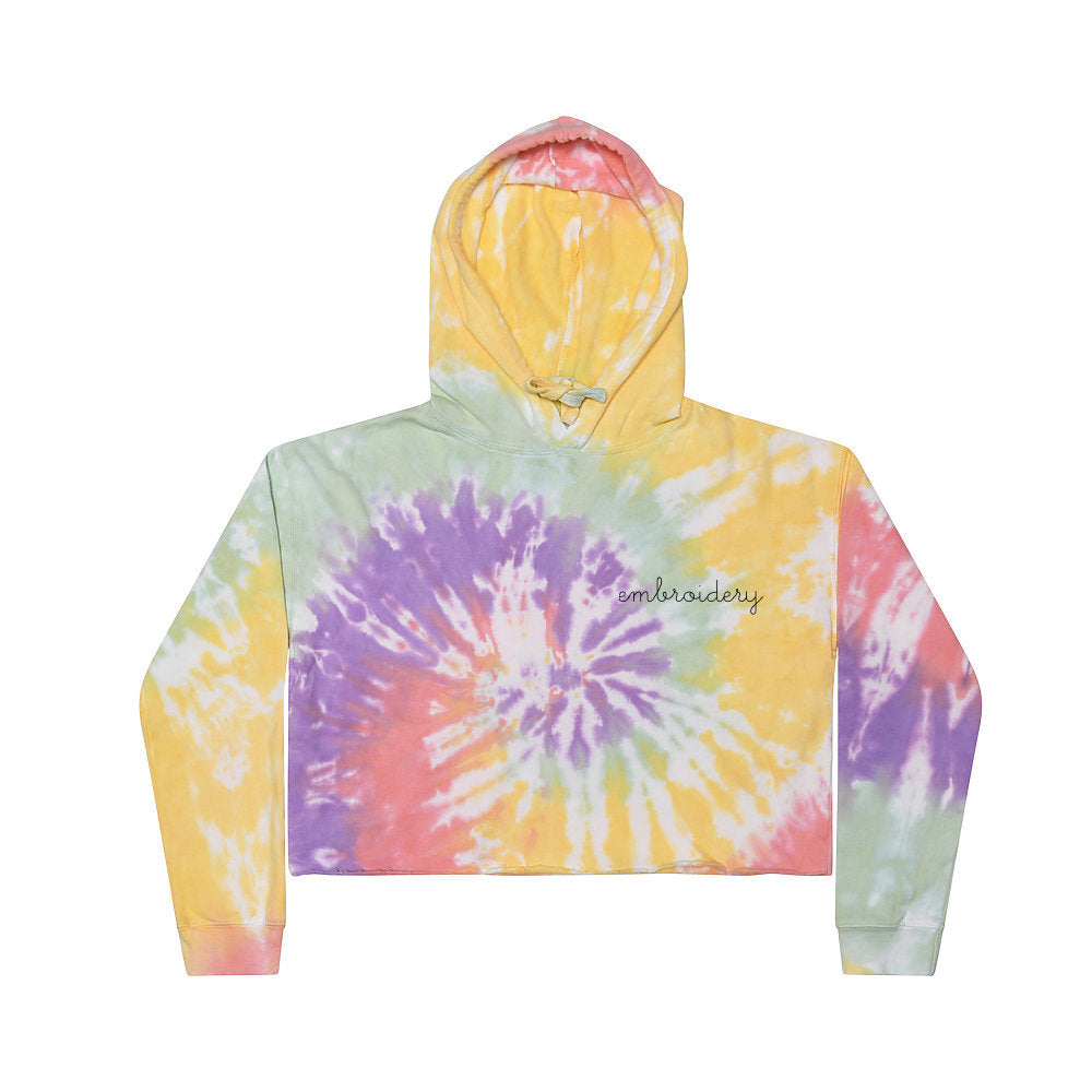 New! Ladies' Tie-Dye Cropped Fleece Hoodie juju + stitch Spiral Aqua / Adult XS custom personalized script embroidered tie dye hoodie
