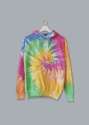 Adult Tie-Dye Pullover Hooded Sweatshirt (Unisex) juju + stitch Adult XL / Pastel Rainbow custom personalized script embroidered tie dye hoodie