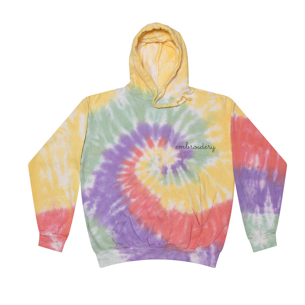 Adult Tie-Dye Pullover Hooded Sweatshirt (Unisex) juju + stitch Adult S / Zen custom personalized script embroidered tie dye hoodie