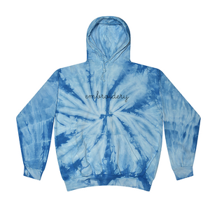 Kids Tie-Dye Pullover Hooded Sweatshirt juju + stitch KIDS 2-4 / Spiral Baby Blue custom personalized script embroidered tie dye hoodie