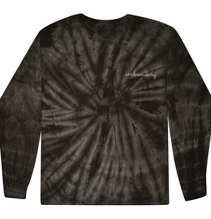 Adult Tie-Dye Longsleeve Shirt (Unisex) juju + stitch Adult S / Spiral Black custom personalized script embroidered tie dye longsleeve shirt
