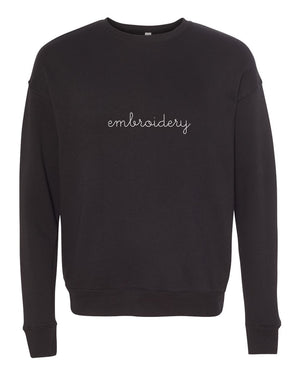 Adult Classic Crewneck Fleece (Unisex) juju + stitch S / Black custom personalized script embroidered crewneck fleece