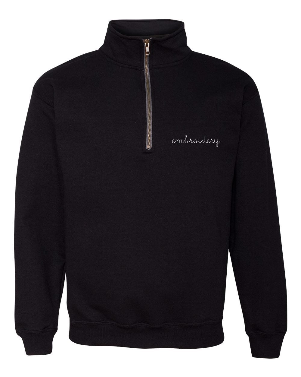Adult Half Zip Fleece (Unisex) juju + stitch Adult S / Black custom personalized script embroidered half-zip fleece sweatshirt
