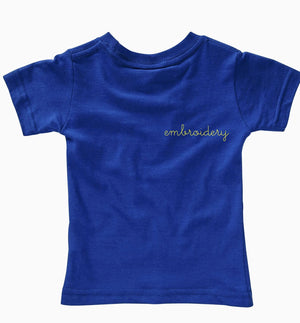Little Kids Solid Shortsleeve T-shirt juju + stitch 7 / Blue custom personalized script embroidered kids t-shirt