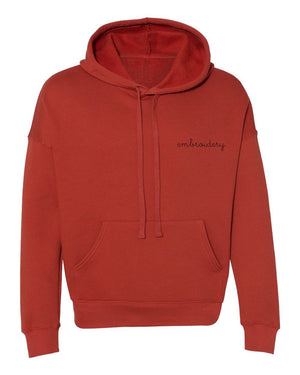 Adult Supersoft Classic Hoodie (Unisex) juju + stitch Adult XS / Brick Red custom personalized script embroidered hoodie