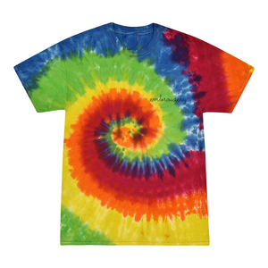 Adult Tie-Dye T-shirt (Unisex) juju + stitch Adult S / Bright Rainbow custom personalized script embroidered kids tie dye t-shirt