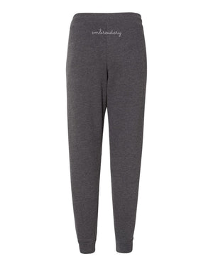 New! Adult Jogger Sweatpants (Unisex) juju + stitch Heather Charcoal / XS custom personalized script embroidered jogger sweatpants