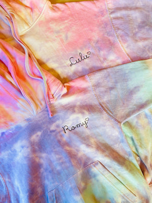 Kids Tie-Dye Pullover Hooded Sweatshirt juju + stitch KIDS 2-4 / Cotton Candy custom personalized script embroidered tie dye hoodie