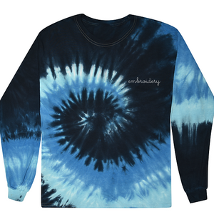 Adult Tie-Dye Longsleeve Shirt (Unisex) juju + stitch Adult S / Deep Blue custom personalized script embroidered tie dye longsleeve shirt