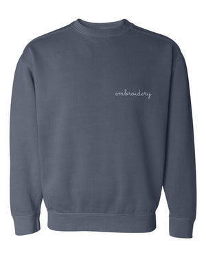Adult Vintagewash Crewneck Sweatshirt (Unisex) juju + stitch Adult S / Denim custom personalized script embroidered crewneck sweatshirt