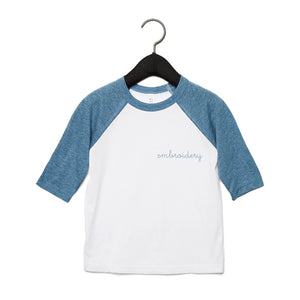 Big Kids Baseball T-shirt juju + stitch Youth S / Heather Denim/White custom personalized script embroidered kids baseball t-shirt