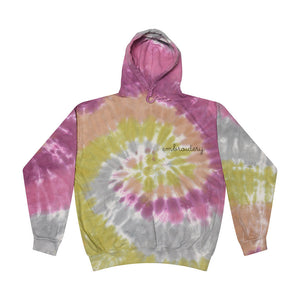 Adult Tie-Dye Pullover Hooded Sweatshirt (Unisex) juju + stitch Adult S / Dusty Pink custom personalized script embroidered tie dye hoodie