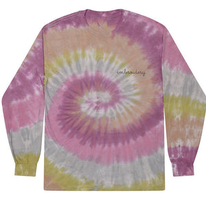 Adult Tie-Dye Longsleeve Shirt (Unisex) juju + stitch Adult S / Dusty Pink custom personalized script embroidered tie dye longsleeve shirt