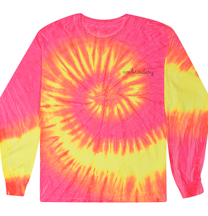 Adult Tie-Dye Longsleeve Shirt (Unisex) juju + stitch Adult S / Neon Yellow Pink custom personalized script embroidered tie dye longsleeve shirt