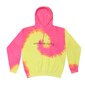 Adult Tie-Dye Pullover Hooded Sweatshirt (Unisex) juju + stitch Adult XL / Neon Yellow Pink custom personalized script embroidered tie dye hoodie